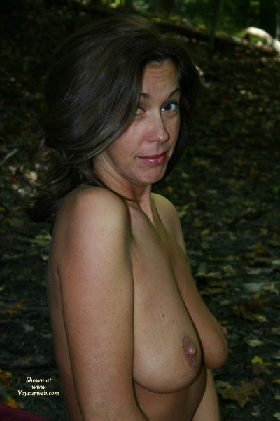Pic #1 - Camping Boobs - Dark Hair, Nude Outdoors, Standing , Camping Boobs, Outdoors, Looking Into Cam, Dark Hair, Standing