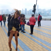 Flashing Pussy in The Daytime on The Tourist Walk in Hong Kong