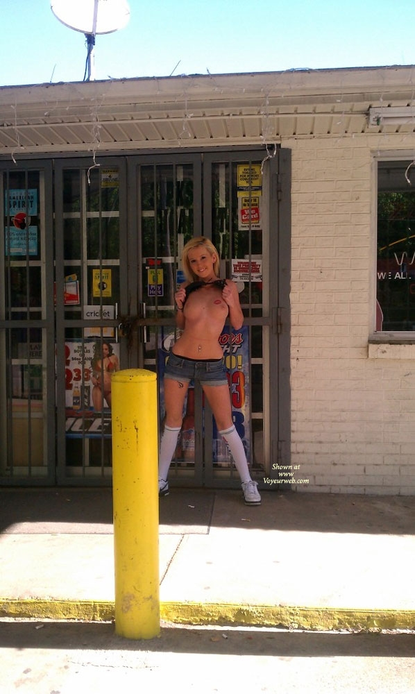 naked in a gas station