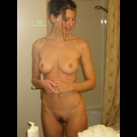Nude Wife In Bathroom - Dark Hair, Firm Tits, Hairy Bush, Perfect Tits, Trimmed Pussy, Naked Girl, Nude Amateur, Nude Wife