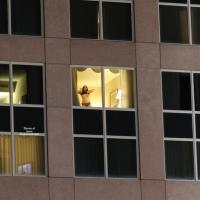 Open Hotel Window - Brunette Hair, Exposed In Public, Nude In Public, Wife/Wives