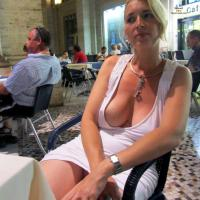 Rome - Big Tits, Public Exhibitionist, Public Place, Blonde, Dressed