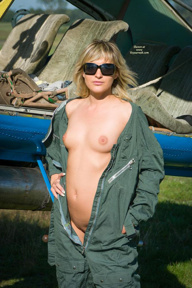 Pic #3 - Airplane - Outdoors, Blonde, Dressed, Small Tits