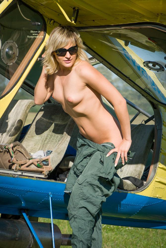 Pic #4 - Airplane - Outdoors, Blonde, Dressed, Small Tits