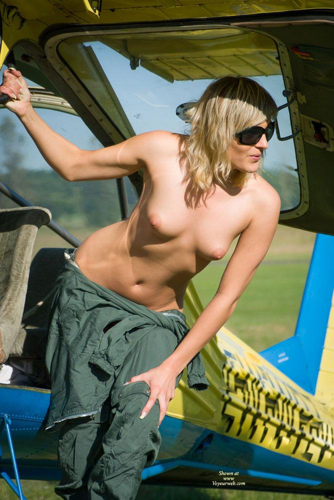Pic #5 - Airplane - Outdoors, Blonde, Dressed, Small Tits