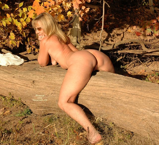 Pic #1 - Riding Tree Naked - Bend Over, Blonde Hair, In The Woods, Riding Tree Naked, Naked Milf, Bending Over, Outdoor Exposure, Milf Nude On Log, Blonde, Milf In The Outdoors, Fall In The Woods