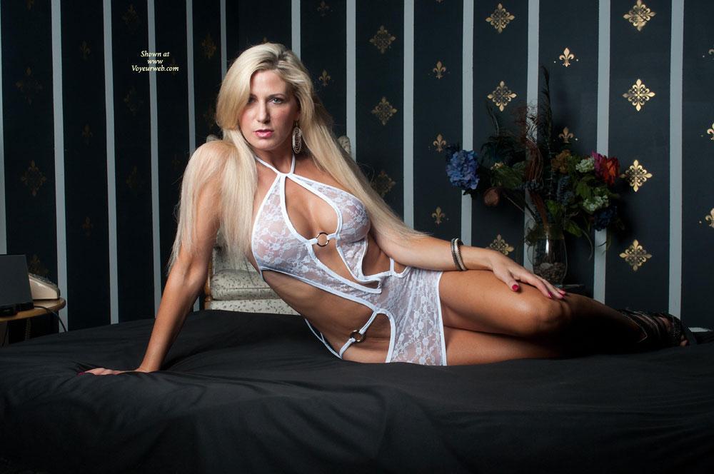 Pic #1 - Vikki in White - Big Tits, Blonde Hair, Sexy Lingerie , Vikki Shows Off Her White Lingerie
