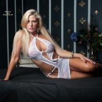 Vikki in White - Lingerie, Blonde, Big Tits