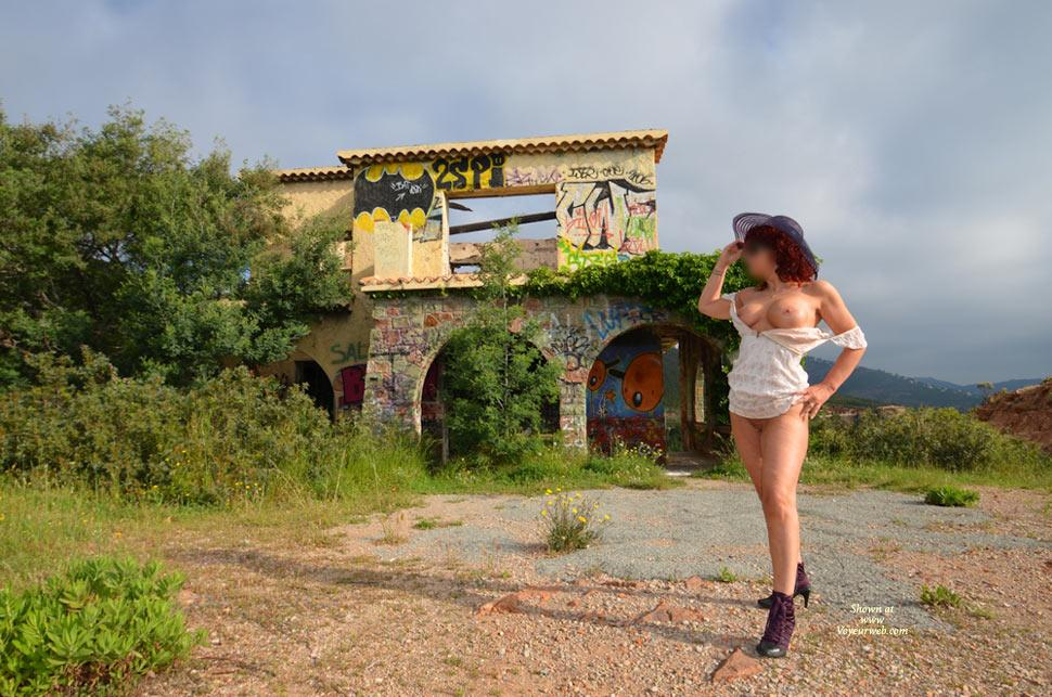 Pic #1 - An Abandoned House - Big Tits, Nude Outdoors , On The Edge Of The Road, An Abandoned House