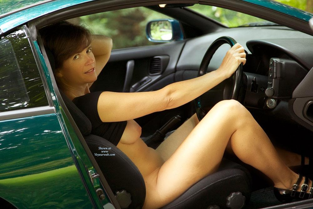 Pic #1 - Around The Car - Big Tits, Heels, Nude Outdoors , A Few Pics Before Heading Out For A Drive.