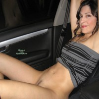 Flashing In Car - Brunette Hair, Dark Hair, Flashing, Landing Strip, Pussy Flash