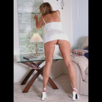 Nikki -white Dress And Heels-