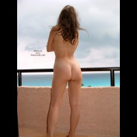 Standing Naked On Balcony - Brunette Hair, Nude Outdoors, Tan Lines