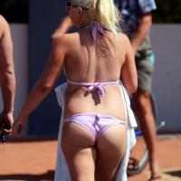 Hot Blonde on Aussie Beach - Bikini Voyeur, Blonde, Public Place