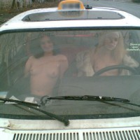 Two Nude Girls In Taxi - Blonde Hair, Brunette Hair, Flashing, Topless, Naked Girl, Nude Amateur