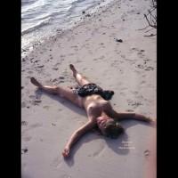 Nude Girl Spread On The Beach - Blonde Hair, Dark Hair, Long Hair, Topless, Naked Girl, Nude Amateur