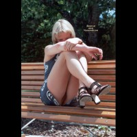 Flashing On Park Bench - Blonde Hair, Flashing, Nude Outdoors, Naked Girl, Nude Amateur