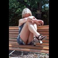 Flashing On Park Bench - Blonde Hair, Flashing, Nude Outdoors, Naked Girl, Nude Amateur