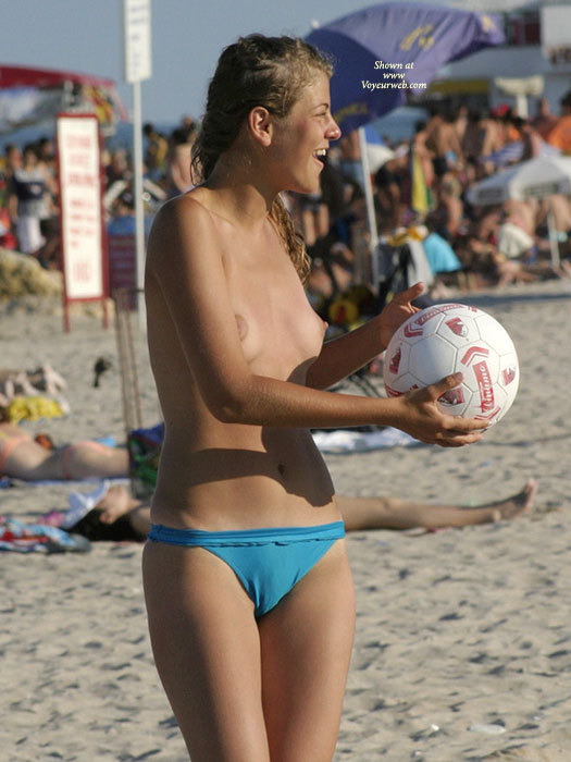Topless beach volleyball