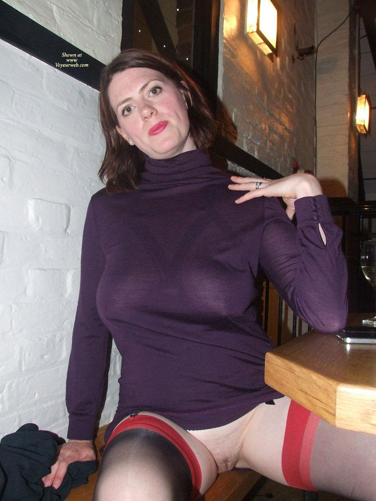 Pic #4 - Scarlet Cat Seethrough Dress - Stockings and Heels! - Public Exhibitionist, Public Place, See Through