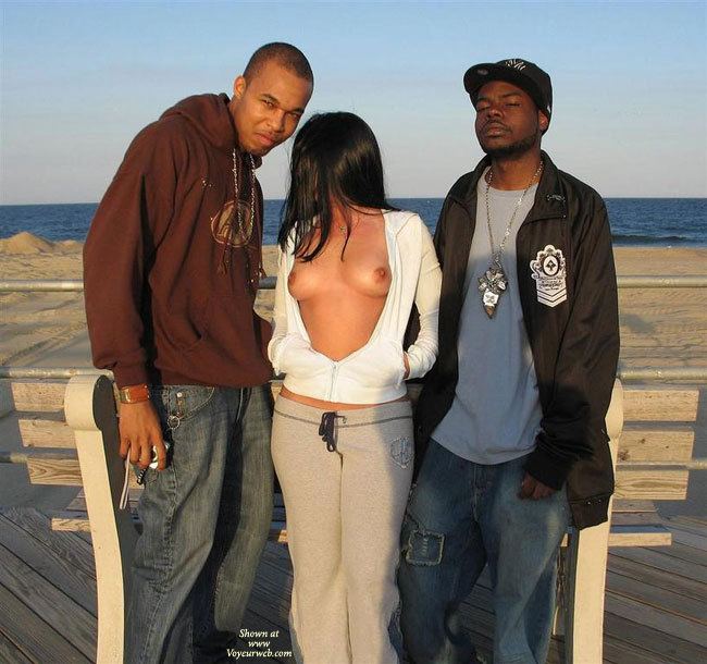 Pic #1 - Flasher Girl Flanked By Men - Black Hair, Flashing, Long Hair, Perky Tits, Naked Girl, Nude Amateur , White And Gray Sweats, Long Loose Black Hair, Open Hoodie, Sweats, Public Nudity, Open Shirt, Flashing Perky Tits, White Cotton Hoodie, Grey Sweat Pants, Semi Nude, Sweat Suit, Top Open, Girl Posing Outside, Open Hoodie, Sweat Pants