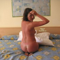Sunburned Nude Wife On Bed - Brown Hair, Naked Girl, Naked Wife, Nude Amateur, Nude Wife