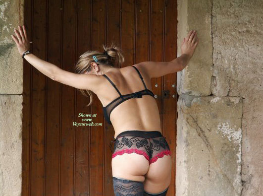 Pic #1 - Wife In Sexy Lingerie - Blonde Hair, Round Ass, Sexy Ass, Sexy Lingerie , Black Lace On Hot Body, Bent Over, Black And Red Panties, Blonde With Back Facing Camer, Outdoor Black Lingere Rearview, Dressed In Lace, Little Round Ass, See Through Black Panties With Red Trim, Black Lace Bra, Outdoor Lingere, Blue Hair Clip, Lace Top Stockings