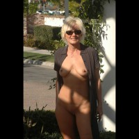 Frontal Nude Outdoors - Blonde Hair, Erect Nipples, Long Hair, Milf, Nude In Public, Shaved Pussy, Sunglasses, Naked Girl, Nude Amateur