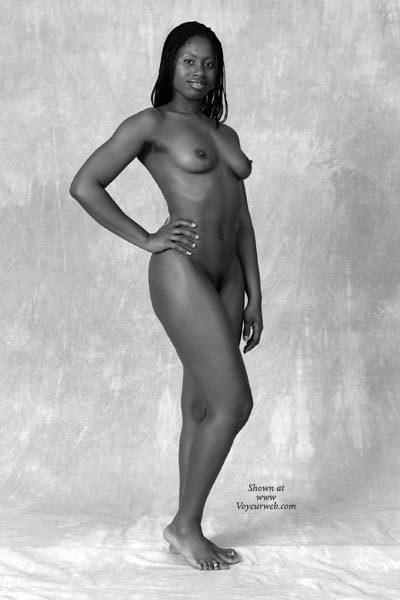 Pic #1 - Black Girl - Black And White , Black Girl, Standing Fully Nude In Studio, Black And White