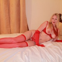 Lady in Red - Blonde Hair, Sexy Lingerie