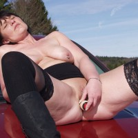 Tini Playing on The Truck - Masturbation, Toys