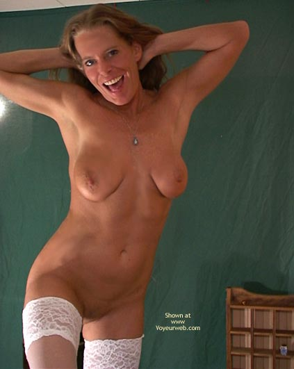 Pic #1 - White Thigh Highs , White Thigh Highs, Huge Smile