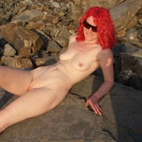 Daisy Gives The Local Fishermen an Eyeful - Redhead, Beach Voyeur