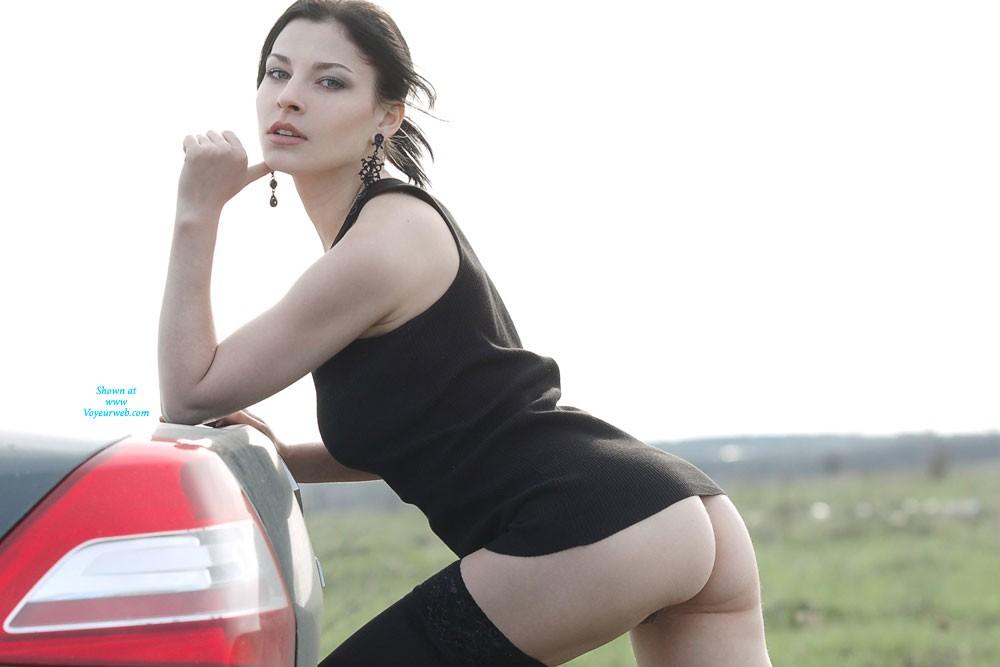 Sexy Vilena in The Car - Brunette Hair, Hairy Bush