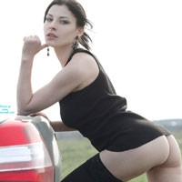 Sexy Vilena in The Car - Brunette Hair, Hairy Bush