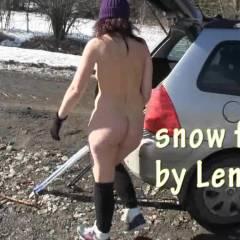 Lena Snow Fun 2 - Outdoors, Public Exhibitionist, Public Place