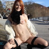 Austrias Long Winter - Exposed In Public, Flashing, Nude In Public, Redhead