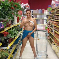 Red Hot Flashing at Supermarket - High Heels Amateurs, Public Exhibitionist, Public Place
