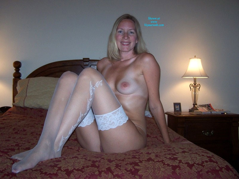 Pic #3 White Stockings - Big Tits, Blonde, Lingerie
