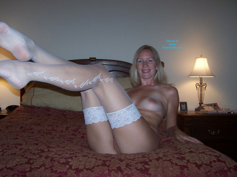 Pic #4 White Stockings - Big Tits, Blonde, Lingerie