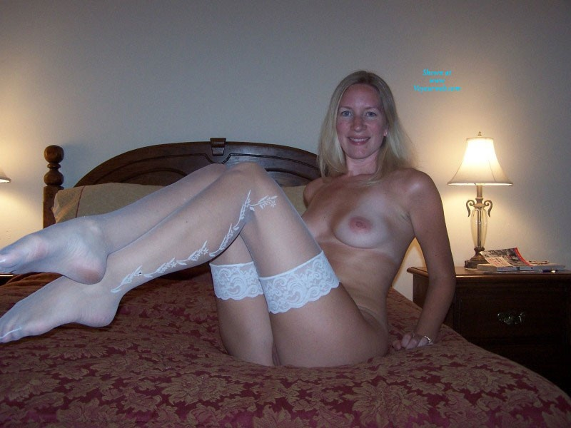 Pic #5 White Stockings - Big Tits, Blonde, Lingerie