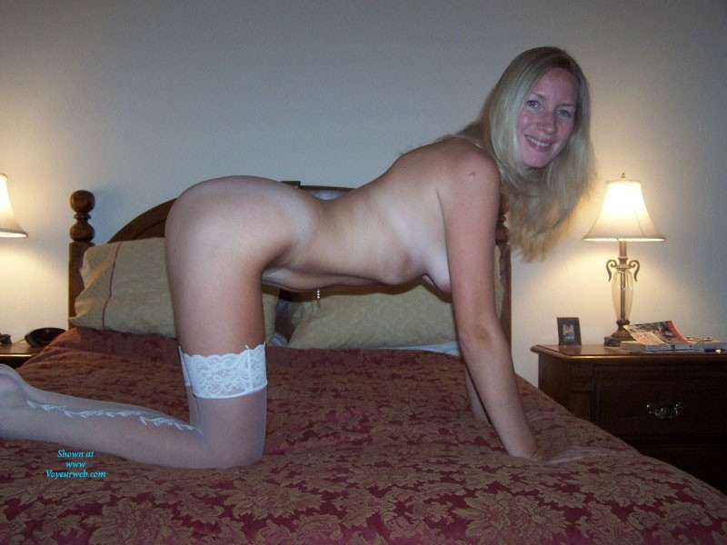 Pic #7 White Stockings - Big Tits, Blonde, Lingerie