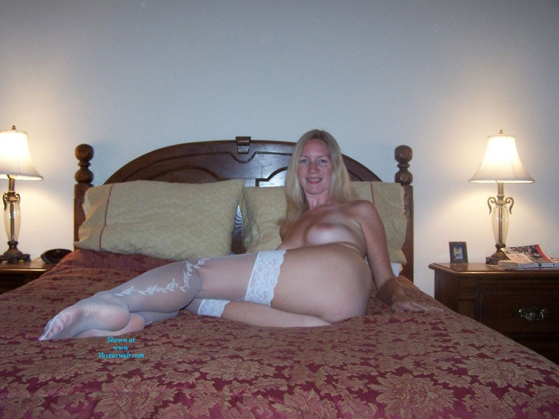 Pic #8 White Stockings - Big Tits, Blonde, Lingerie