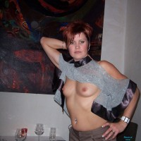 Restaurant Fun - Exposed In Public, Nude In Public, Redhead