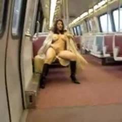 Riding The Train - Masturbation, Public Exhibitionist, Public Place