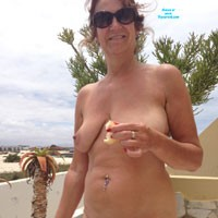 Horny Old Woman - Beach, Big Tits, Mature