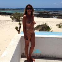 Debbie - Beach, Brunette, Lingerie, Nature, Public Place, Pussy, Shaved, Small Tits