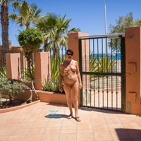Nude Stroll II - Brunette Hair, Beach Voyeur