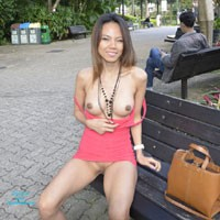 Flashing Tits and Pussy in The Park - Flashing, Public Exhibitionist, Public Place, Brunette, Pussy, Shaved, Asian