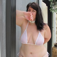 Kitten's Sheer White Summer Bikini - Bikini Voyeur, Brunette, BBW, Big Tits, Lingerie, See Through, Wife/Wives